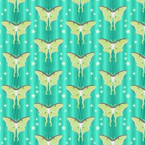 luna moths on aqua