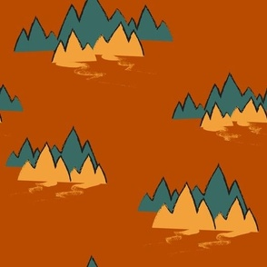 Teal and Butter Mountains
