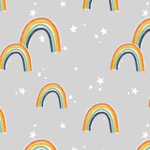 Rainbows and Stars on Gray