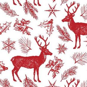 Vintage Christmas Reindeer, Berries and Snowflakes