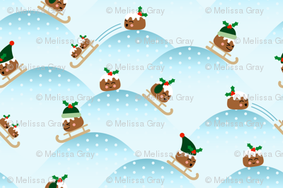 Sledding Holiday Puddings