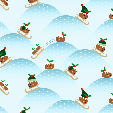 Sledding Holiday Puddings  fabric by moonpuff on Spoonflower - custom fabric