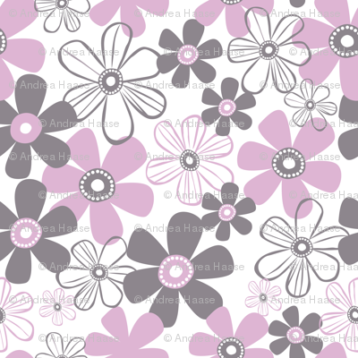 Whimsical Pink And Grey Flowers