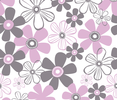 Whimsical Pink And Grey Flowers fabric by andrea_haase_design on Spoonflower - custom fabric