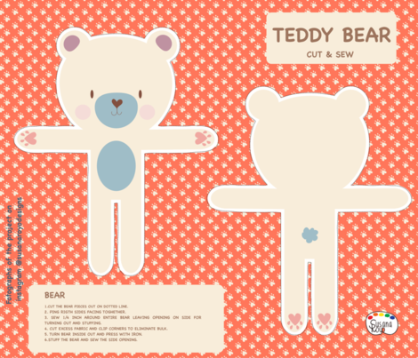 TEDDY BEAR fabric by susanaroyodesigns on Spoonflower - custom fabric