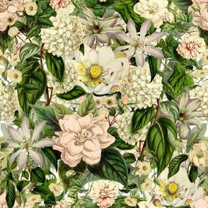 Vintage Beige Cream Flowers