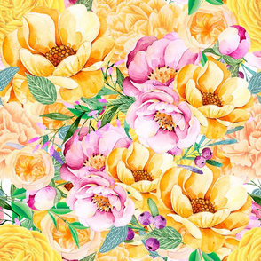 Yellow And Pink Watercolor Flowers