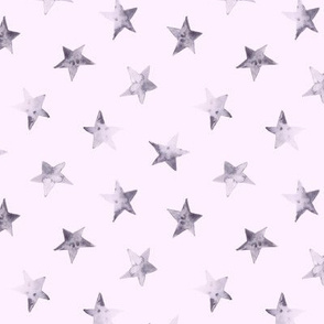 Tender grey stars on pink || watercolor night sky pattern