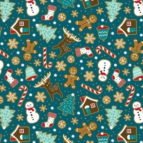 Christmas gingerbread cookies on dark teal (small)