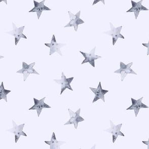 Tender grey stars on blue || watercolor sky pattern