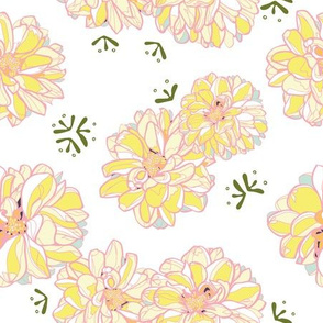 White repeat pattern with yellow dahlias
