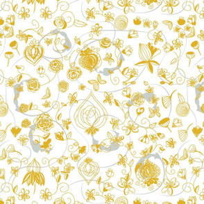 Gold Floral Chinsoiserie on White