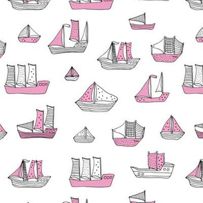 Fishing sailing boats and pirate ships on the shore and at sea pink girls white