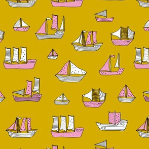 Fishing sailing boats and pirate ships on the shore and at sea yellow ochre pink