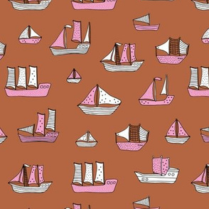 Fishing sailing boats and pirate ships on the shore and at sea pink copper girls