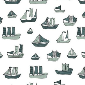 Fishing sailing boats and pirate ships on the shore and at sea dusty green