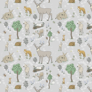 Animals in the forest Smaller print