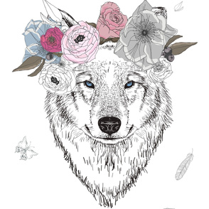 "42""x72"" Girl Wolf with Flowers"