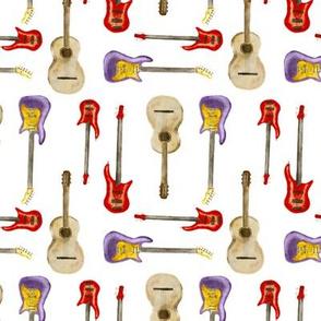 Guitars watercolor pattern