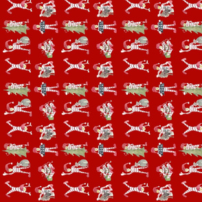 Christmas elves on red