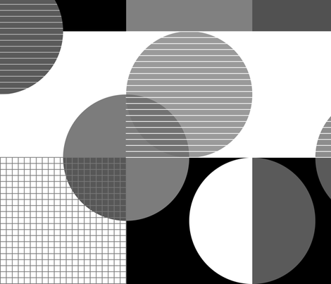 squares and circles-bw fabric by indrajeet on Spoonflower - custom fabric