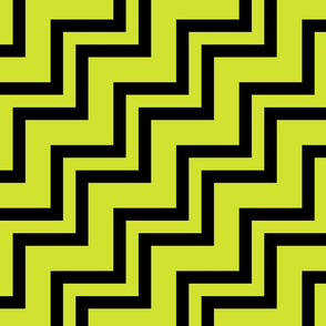 Big Small Size Pear Fruit Green Yellow Black Color Stairs Chevron Zig Zag Pattern