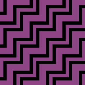 Big Small Size Plum Purle Violet Black Color Stairs Chevron Zig Zag Pattern