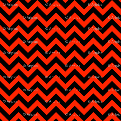 Scarlet Red Black Color Chevron Zig Zag Pattern