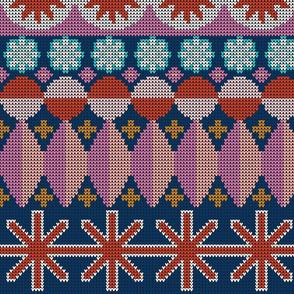 Fair Isle Castle* (Large-Scale Navy) || faux knit knitting geometric holiday christmas pixel pixels pixelated stars snowflakes diamonds jumbo