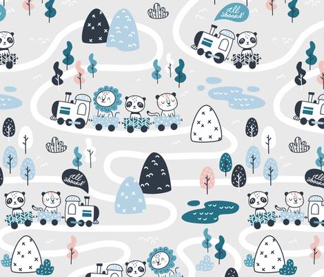 All aboard - gray blue coral - BIG fabric by ewa_brzozowska on Spoonflower - custom fabric