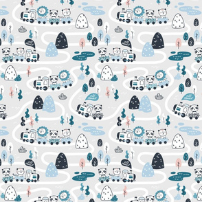 All aboard - gray blue coral - TINY