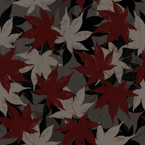Japanese Maple Leaf in Red/Gray/Black