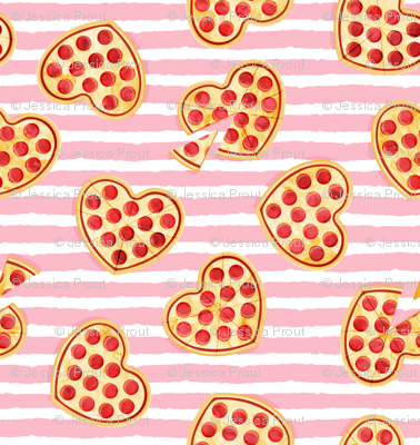 "(1"" scale) heart shaped pizza - valentines day - pink stripes C18BS"