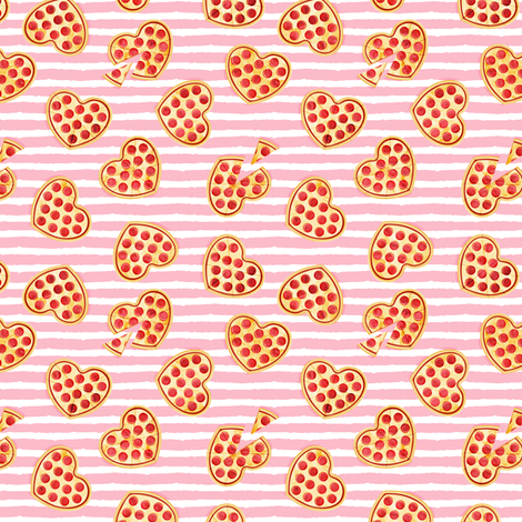"(1"" scale) heart shaped pizza - valentines day - pink stripes C18BS fabric by littlearrowdesign on Spoonflower - custom fabric"