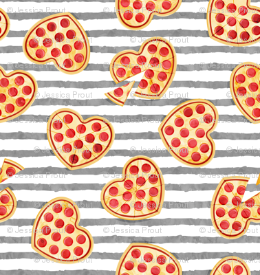 """(1"""" scale) heart shaped pizza - valentines day - grey stripes 2 C18BS"""
