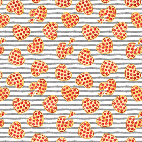 """(1"""" scale) heart shaped pizza - valentines day - grey stripes 2 C18BS fabric by littlearrowdesign on Spoonflower - custom fabric"""