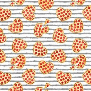 "(1"" scale) heart shaped pizza - valentines day - grey stripes 2 C18BS"