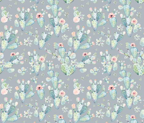 "21""  Love Dreaming Boho Style Succulents / Grey fabric by shopcabin on Spoonflower - custom fabric"