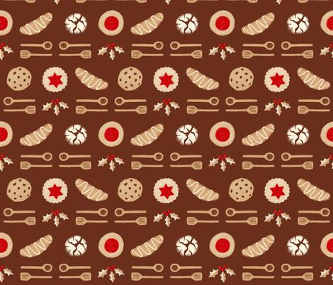 Christmas Cookies & Spoons Stripe on Brown fabric by bexmorley on Spoonflower - custom fabric