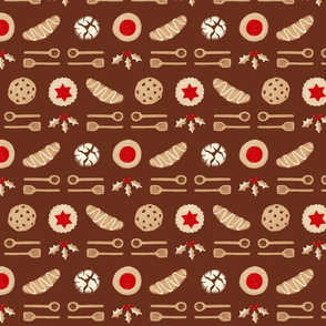 Christmas Cookies & Spoons Stripe on Brown