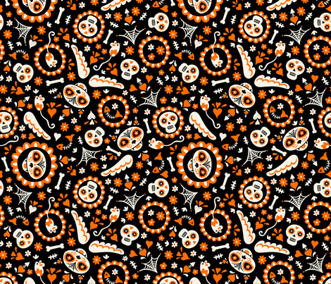 Halloween Day of the Dead Cat in Orange and Black fabric by bexmorley on Spoonflower - custom fabric
