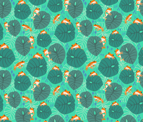 Jungle Frogs Turquoise fabric by tinyandtenacious on Spoonflower - custom fabric