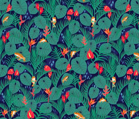 Vibrant Jungle Navy fabric by tinyandtenacious on Spoonflower - custom fabric