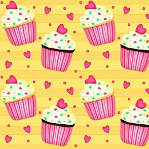 Cup Cakes for my Sweetheart!  pink & yellow