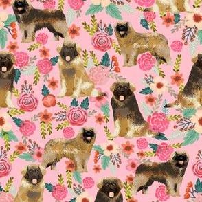 leonberger dog fabric // dog fabric, dog breeds fabric, leonberger fabric, floral dog fabric, floral dog, cute dog, pet, pet friendly fabric - pink