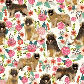 leonberger dog fabric // dog fabric, dog breeds fabric, leonberger fabric, floral dog fabric, floral dog, cute dog, pet, pet friendly fabric - cream
