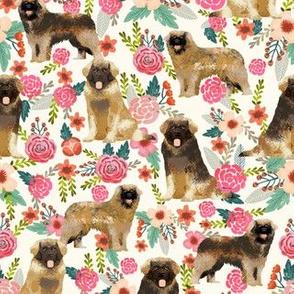 leonberger dog fabric // dog fabric, dog breeds fabric, leonberger fabric, floral dog fabric, floral dog, cute dog, pet, pet friendly fabric - cream