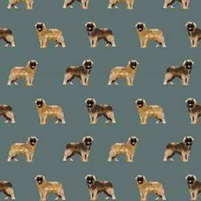 leonberger dog fabric // pet dog fabric, pet friendly fabric, dog breeds fabric, dog design, cute dog - dark green grey
