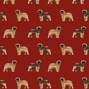 leonberger dog fabric // pet dog fabric, pet friendly fabric, dog breeds fabric, dog design, cute dog - dark red
