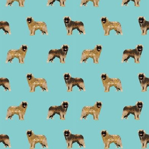 leonberger dog fabric // pet dog fabric, pet friendly fabric, dog breeds fabric, dog design, cute dog - light blue